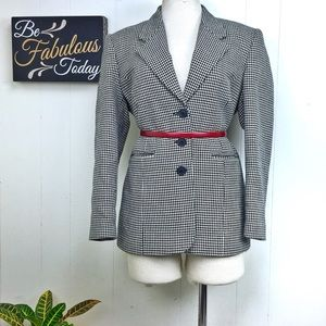 Larry Levine Black & White Houndstooth Blazer